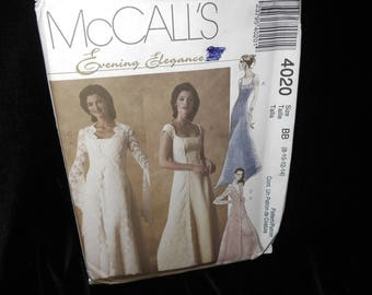 Misses Evening Gowns Dress McCalls 4020 Womens Size 8 10 12 14 Evening Elegant Lined Dress