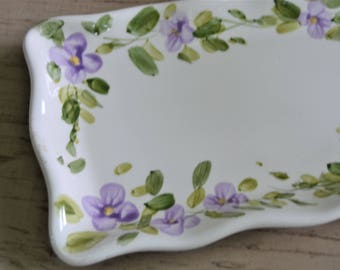 HANDPAINTED CERAMIC PLATE Miriam'S Garden Lilac Floral Handpainted Relish Tray Serving Dish or Ring Holder