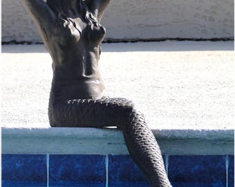 "Rust Colored Cast Iron GIANT 39"" Mermaid Statue or Sculpture 52 lbs Solid Metal"