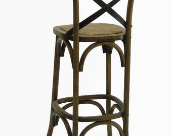 Wood Iron and Rattan Cane seat vintage old style oak Bar Stool Barstool chair