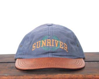 Vintage 90's Sunriver Resort Oregon Pacific Northwest Leather Brim Unstructured One Size Hat Baseball Cap