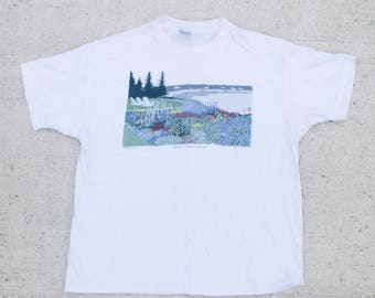 Vintage 90's Maine Seaside Flower Garden Cove Ocean View Beach Boxy Oversize Tee T Shirt Size XL