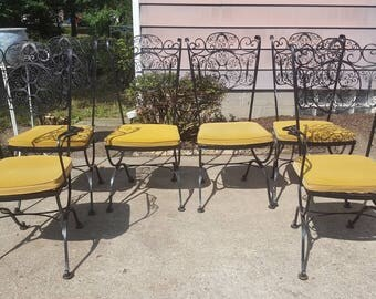 Vintage Mid Century Modern Lee WOODARD Spanish Fancy Iron Work Dining Patio  Chairs Yellow Velvet Pads
