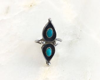 Vintage Sterling Navajo Turquoise Ring Size 5.75