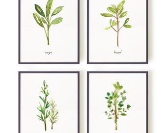 Kitchen Print Set of 4 Herb Wall Art Print Watercolor Painting Herb Chart Botanical Print Set Green Wall Art Culinary Print Green Wall Art