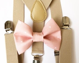 FREE DOMESTIC SHIPPING! Tan Suspenders + blush polka dot bow tie wedding pictures birthday formal wedding ring bearer