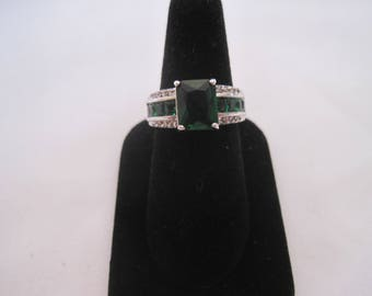 10 K White Gold Filled Faux Emerald Ring