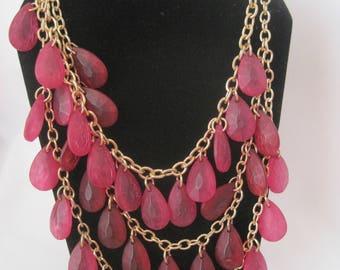"22"" Vintage Gold Tone Triple Strand Pink Necklace"