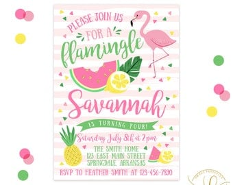 Flamingo Invitation | Flamingo Party | Let's Flamingle | Pineapple Invitation | Pineapple Party | Summer Party | Watermelon Invitation