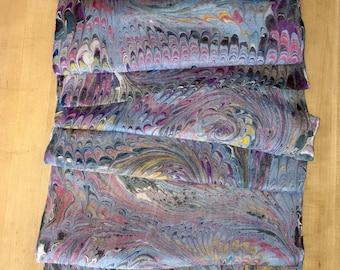 "Blue Pink Combed Swirl Patterned Habotai Silk 14x72"""