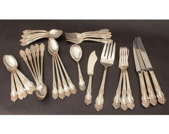 Reed & Barton Silverplate Flatware Tiger Lily Reed Barton Festivity, 31 Piece Flatware Silver Plate, Forks Dinner Knives, Teaspoons, Serving