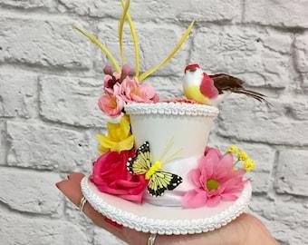 White Mini Top Hat, Butterfly fascinator, Tea Party Mini Top Hat, Butterfly Flower Hat