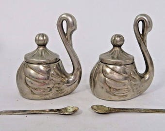 Swan Condiment Bowl Pot Silver Plate Lidded Set of 2 with Spoons Dish Vintage