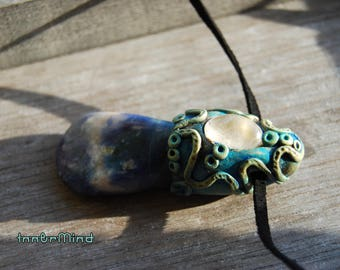 Blue Sodalite Gemstone Clay Pendant with clear Quartz Necklace Unisex Atlantean Atlantis Water Aqua Fantasy