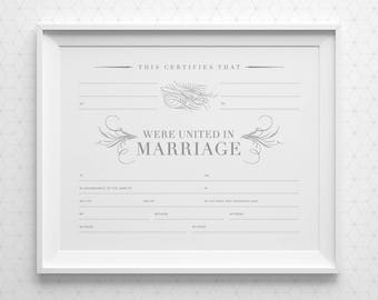 Letterpress marriage certificate with calligraphy printable marriage certificate with space for 4 witnesses gray white blank marriage certificate 8x10 yadclub Image collections