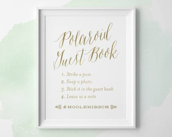 PRINTABLE Wedding Signs, Polaroid Guest Book Sign with Hashtag, Gold Wedding Photo Guestbook Sign, Wedding Hashtag Sign 5x7 8x10 11x14 WS1GP