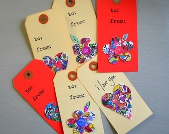 All Occasion Gift Tags. Hearts and Flowers for the flower child in you.