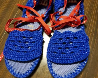 Royal Sparkle flip flop espadrilles with red ribbon ankle ties