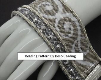 "Peyote Bracelet Beading PATTERN. DIGITAL DOWNLOAD. Odd Count Peyote Pattern. Small Peyote Bracelet Pattern. ""Marcy's Bracelet"". DecoBeading"