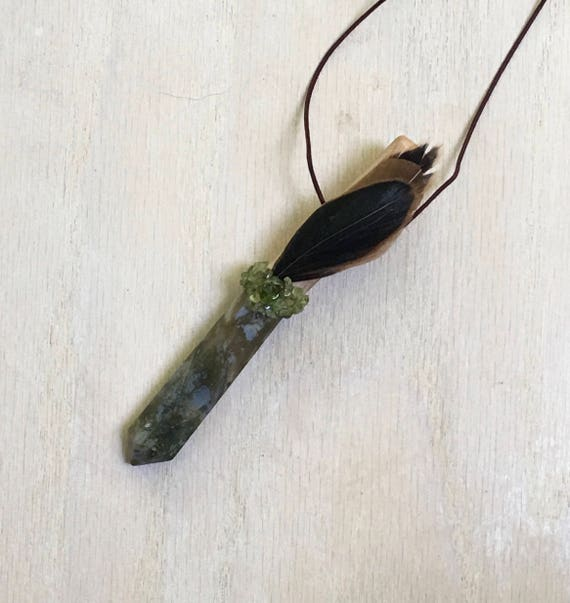 Mimosa, Rainforest Jasper Rhyolite Peridot & Rooster Shamanic Traveling Wand OOAK Healing Pendant, Native American Reiki Energy, Magic Wand