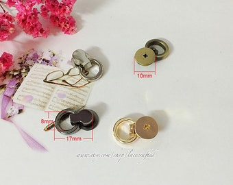 10 Sets 10mm Light golden Gunmetal Silvery Brushed brass screws rivets Chicago screw/Conchoid screw with round ring