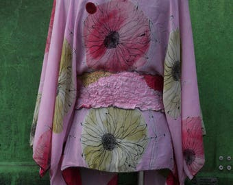 designed tunic, viscose, blouse, chiffon, transparent, nuno felt, for any size,