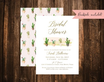 Cactus Bridal Shower Invitation; Succulent; Double-Sided; Printable or set of 10