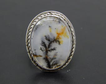 Dendritic agate ring, dendritic landscape opal ring, natural gemstone ring, dendritic quartz ring, merlinite ring