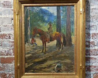 Karl Yens -Woman on horseback in Yosemite valley-California Impressionist Oil painting-1909