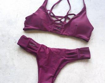 Purple Cross Back Bikini