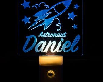 Astronaut Night Light Personalized - Custom Astronaut LED Nightlight - Space - Rocket Ship - Space Flight - Kids Night Light Child's Name