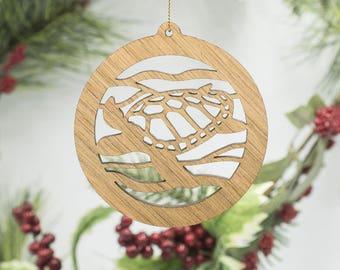 Sea Turtle Ornament - Turtle Christmas Ornament - Tortoise Cherry Wood Tree Decoration - Laser Cut Turtle Ornament - Sea Ocean Aquatic Decor