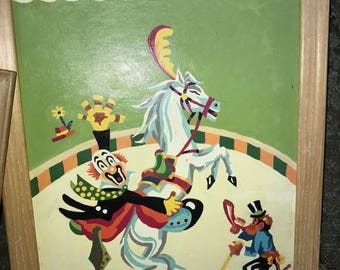 Vntg 1960s PBN Paint By Number CIRCUS Clown HORSE Monkey 18 X 14 framed