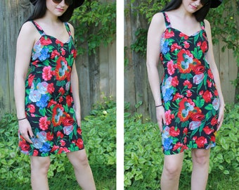 90's Vintage Large Floral Print Knee Length Dress