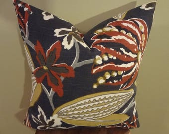 "Decorative Pillow Cover 18x18"" Chocolate Fruit Floral Pattern Mustard Brown Gray White Toss Pillow Accent Pillow Throw Pillow"