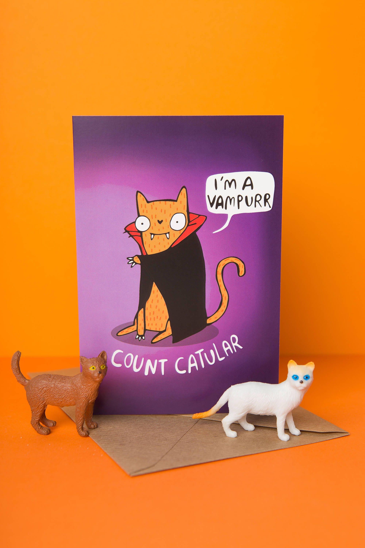 Count Catular Dracula pun vampire card spooky Birthday