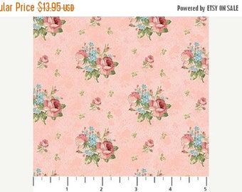 Summer Sale- Vintage Rose~Rosebuds on Pink~Cotton Fabric,~Northcott~Fast Shipping F966
