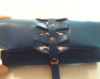 Tobacco pouch 100% leather and blue handmade