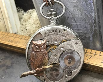 Steampunk necklace- Steampunk owl with moon pocket watch necklace  -The Victorian Magpie