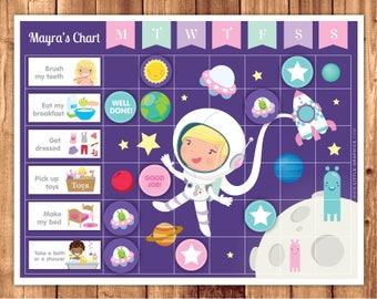 Astronaut Reward Chart + Chores + Behavior + Routine