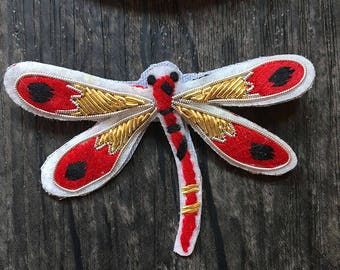 Hand made Embroidery Dragonfly Sew On Back Patch, Dragonfly Applique, Dragonfly Embroidered patch- 1 PC