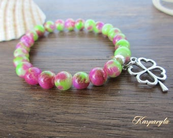 Bracelet with glass pearls - tropical tones and shamrock