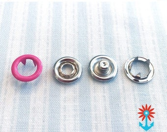 Summer Sale Snaply 10 Jersey push-buttons ring bright pink