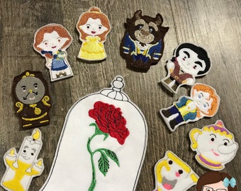 Handmade Princess and Friends 10 Piece Finger Puppet Set ~ Finger Puppets ~ Puppets ~ Princess Puppet ~ Princess and Friends Puppets