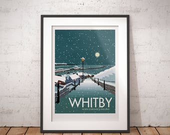 Whitby in snow, North Yorkshire, England, UK - signed travel poster print