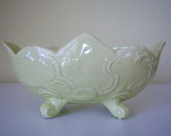 Vintage Chartreuse Footed Planter
