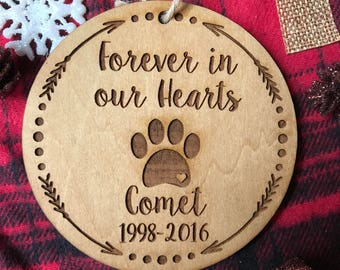 Personalized Dog Christmas Ornament - Pet Loss, Dog Remembrance, Pet Ornament, Dog Christmas, Custom Ornament, Paw Print, Friend Gift, Wood