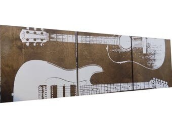 XL Fender Acoustic And Electric Guitars / Wood Wall Art / Gifts For  Musicians / Guitar