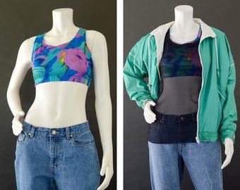 Vintage 80s Sports Bra, Women's Multi Color Sport Bra Top, Racer Back Sports Bra, Abstract Floral Athletic Sports Bra, Women's Size Large