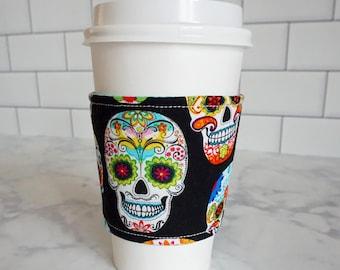 Reusable Coffee Sleeve-Skull Print